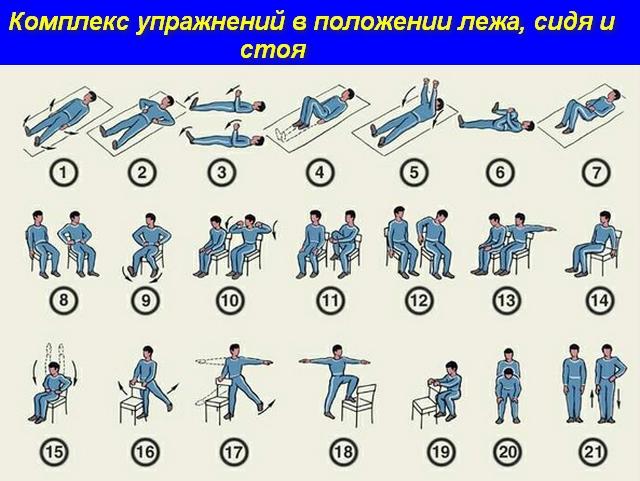 комплекс упражнений в положении лежа, сидя и стоя