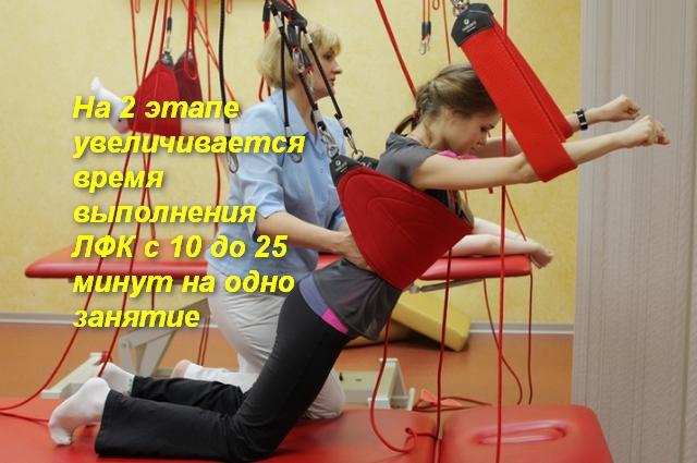 пациент выполняет упражнение на тренажере с помощью инструктора