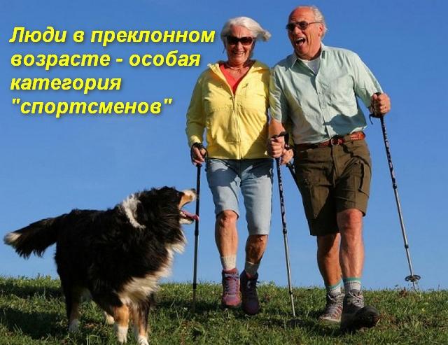 пожилые люди с палками и собакой