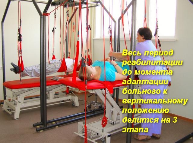 врач укладывает пациента на тренажер