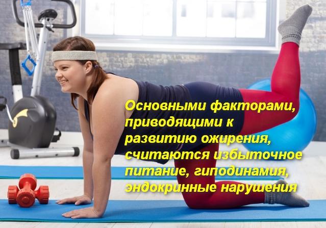 тучная женщина выполняет упражнение