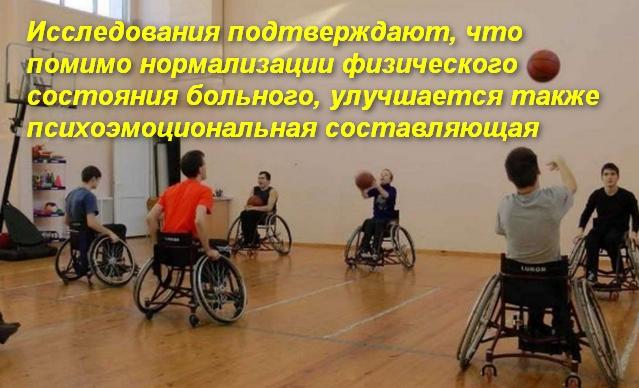 группа ребят в инвалидных колясках играет в баскетбол